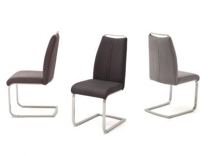 MCA furniture Giulia A 2er Set Schwingstuhl mit Griffleiste, Gestell Flachrohr Edelstahl gebürstet Bezug wählbar Farbe wählbar für Esszimmer und Küche