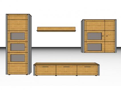 Gwinner Solid Wandkombination Wohnwand SL 31 Vitrine Unterteil Hängeschrank und Wandboard auch spiegelverkehrt lieferbar ohne Beleuchtung Front Korpus Ausführung wählbar