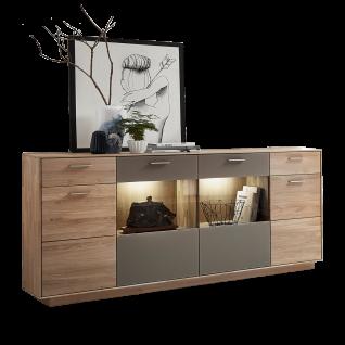Wohn-Concept Topaz Sideboard 46 03 HM 21 in Wildeiche bianco Massivholz mit Absetzung in Glas Basalt Anrichte mit viel Stauraum Kommode mit Türen und Schubkästen für Ihr Wohnzimmer oder Esszimemr LED-Beleuchtung wählbar