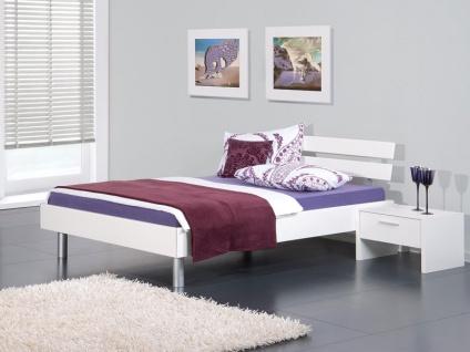 Neue Modular Livorno plus Bett mit Kopfteil Vito in weiß und Rundfüßen in alu Liegefläche wählbar