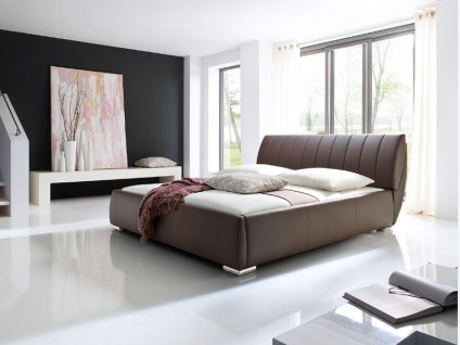 Meise Möbel Bern Polsterbett mit Kunstlederbezug in der Farbe braun mit integriertem Bettkasten und Lattenrost Kaltschaummatratze optional