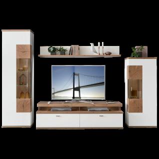 Ideal-Möbel Sylt Wohnwand 04 mit Wandboard Lowboard und zwei Vitrinen Korpus Weiß Front Weiß Hochglanz Absetzung Eiche Artisan Dekor mit Hirnholzoptik