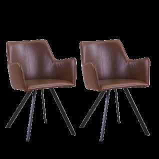 Sit Möbel Schalensessel im 2er-Set Bezug Kunstleder braun Gestell antikschwarz