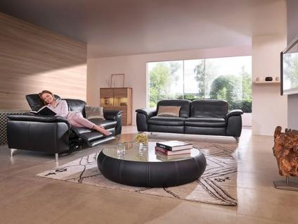 Willi Schillig 2 Ledersofas Sinaatra 33120 2-Sitzer in schwarzem Leder + glänzenden Metallfüßen ein Sofa ca. 216 cm breit mit elektrischer Kopfstützenverstellung + einer ergoslide-Funktion am linken Sitz und ein Sofa ca. 196 cm breit mit manueller Kopfstü