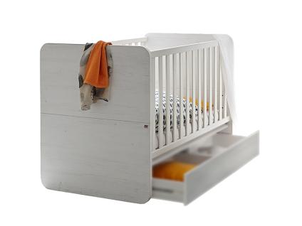 Mäusbacher Lara Babybett mit breiten Sprossen mit Liegefläche ca. 70x140cm Babybett mit verstellbarem Lattenrost für Babyzimmer oder Kinderzimmer im Dekor Anderson pine mit Absetzung im Dekor Weiß matt