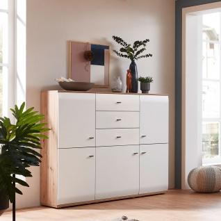 Stralsunder Breege Highboard B15071 mit fünf Türen und 3 Schubkästen für Ihr Wohnzimmer oder Esszimmer Dekor Alteiche Nachbildung und Tonweiß - Vorschau 2