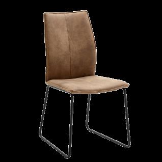 Niehoff Polsterstuhl Capri 7331 mit braunen Bezug schlamm Gestell aus Rundrohr Eisen schwarz Stuhl für Esszimmer und Küche