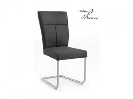 Niehoff Schwingstuhl 1041-02 Polsterstuhl passend zur Eckbank Melina Gestell Rundrohr Edelstahl gebürstet Stuhl für Wohnzimmer und Esszimmer Bezugsfarbe wählbar