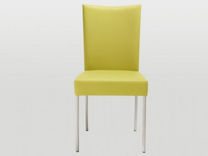 Bert Plantagie Jeanne Flex Stuhl mit runden Edelstahlbeinen und flexiblem Rücken Vierfußstuhl für Esszimmer Gestellausführung und Bezug wählbar