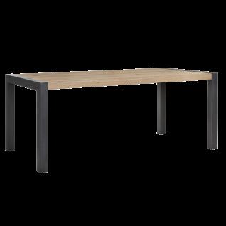 Habufa Brooklyn Esstisch ca. 180 cm breit Tischplatte in Eiche furniert Metallbeine schwarz im Industrie Stil