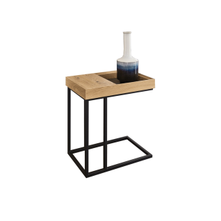 Wöstmann WM 1880 Beistelltisch 9510 ca. 36, 2 x 56, 2 cm Satztisch mit Fach Tischplatte in Wildeiche soft gebürstet Massivholz Gestell in Carbon strukturgepulvert für Ihr Wohnzimmer