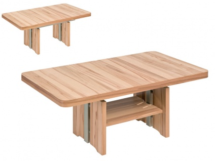 Vierhaus Couchtisch IL-Lift-L 2410 Tischplatte ca. 90x60 cm mit abgerundeten Ecken höhenverstellbar Farbausführung Ablageboden und Rollensatz wählbar