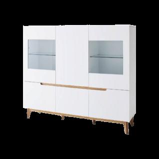 MCA furniture Cervo Highboard 48647WE5 mit Glas weiß matt lackiert für ihr Wohnzimmer mit 4 Türen Absetzung Asteiche furniertes MassivholzBeleuchtung wählbar