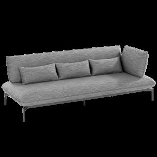 Niehoff Garden Valencia Lounge-Sofa G859-100-523 3-Sitzer rechts mit Aluminiumgestell anthrazit inkl. Sitz- Rücken- und Dekokissen in stoff anthrazit