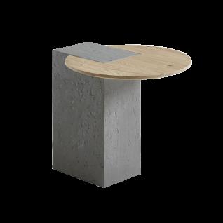 Hartmann Naturstücke Beistelltisch mittel 1004 mit Betonsäule und Holzplatte in Riffeiche Tabak oder Riffeiche natur Massivholz Tisch für Wohnzimmer Esszimmer oder Garderobe in zwei Holzausführungen wählbar