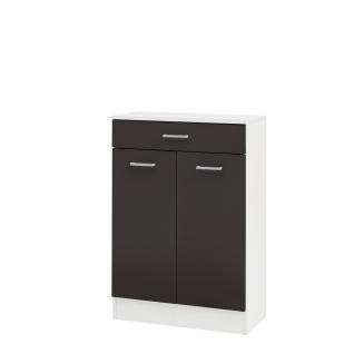 W.Schildmeyer Badmöbel Lorenz Unterschrank U600 mit zwei Türen und einem Schubkasten für Badezimmer Korpus Perlweiß Front wählbar - Vorschau 3