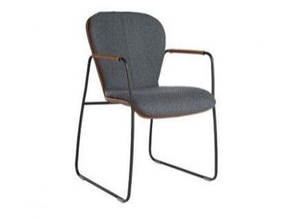 Bert Plantagie Blake Schlitten 621C Komfort mit Bi-Color-Mattenpolsterung offenen Armlehnen und Schlittengestell Stuhl für Esszimmer Esszimmerstuhl Gestellausführung und Bezug in Leder oder Stoff wählbar