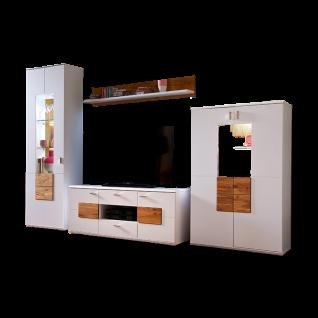 MCA Furniture Kansas KAN1BW01 Wohnkombination 1 für Ihr Wohnzimmer 4-teilige Wohnwand Front Weiß matt lackiert Korpus außen Weiß matt lackiert innen Weiß Melamin Nachbildung Frontabsetzung und Paneel Wildeiche Massivholz Oberfläche geölt
