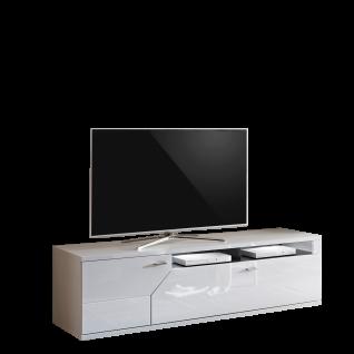 Ideal-Möbel Taviano Lowboard Type 32 modernes TV-Unterteil für Ihr Wohnzimmer mit einer Tür einem Schubkasten und zwei Fächern Ausführung Weiß mit Hochglanzfronten und Absetzungen in Marmor Optik