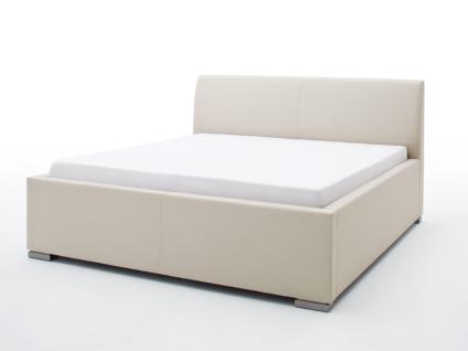 Meise Möbel LA FINCA Polsterbett mit Stoffbezug CHARON ohne Bettkasten mit glattem Kopfteil Liegefläche und Farbe wählbar Metallfüße gebürstet in Edelstahloptik