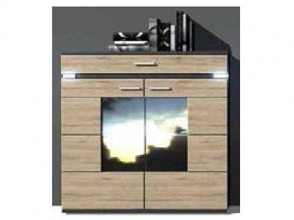 IDEAL-Möbel Boa Highboard Type 52 mit zwei Schubkästen und zwei Türen Anrichte für Wohnzimmer und Esszimmer Ausführung und Vitrinenbeleuchtung wählbar