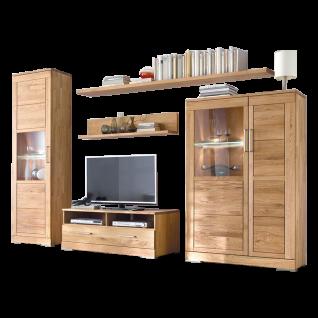 Wimmer Casera Wohnkombination 6-teilig C-3745 Korpus und Front Massivholz naturbelassen geölt bestehend aus 2 Vitrinen einem Lowboard sowie 2 Wandsteckboards und einem L-Wandboard für Ihr Wohnzimmer