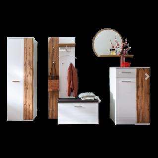 MCA furniture Granada 6-teilige Garderoben-Kombi GRX1FK01 Front Weiß hochglanz Acryl Lack, Korpus weiß matt für Ihre Diele