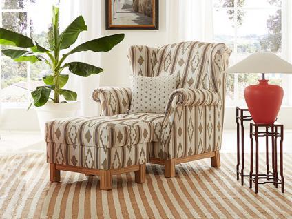 Schröno Sessel SANTANYI aus der Mallorca Kollektion optional mit Hocker oder aufklappbaren Hocker zweifarbiger Bezug Echtholzgestell sowie Polsterung wählbar