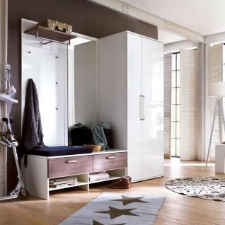 Wittenbreder Roubaix Vorschlagskombination Nr. 06 komplette Garderobe für Ihren Flur und Eingangsbereich 5-teiliges Garderoben-Set in Weiß bzw. Weiß Hochglanz und Trüffel Eiche Nachbildung - Vorschau 2