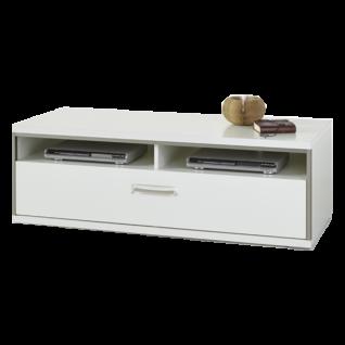 MCA furniture TV Element Trento Art. Nr. TRE83T30 Front Hochglanz weiß tiefzieh Nachbildung Korpus weiß Nachbildung mit edelstahlfarbenem Metallrahmen Lowboard für Ihr Wohnzimmer