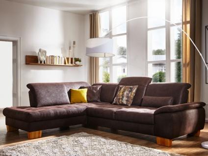 Dietsch Corazon Vital Ecksofa Sofa mit Ottomane groß und 2 Sitzer und Sitztiefenverstellung Stoff oder Leder wählbar