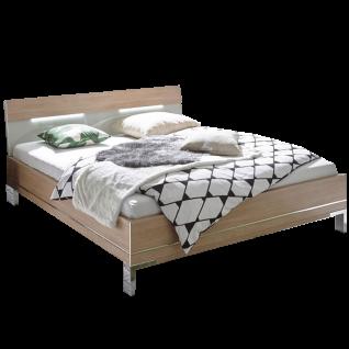 Staud Sinfonie Plus Bett mit Fußteil 3 in Komforthöhe inkl. Kopfteil 2 mit LED Beleuchtung Bettrahmen und Kopfteil oben in Dekor Eiche natur Kopfteil unten in Sandglas Liegefläche ca. 180x200 cm