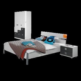 Rauch Skate Jugendzimmer 3- teilig bestehend aus Drehtürenschrank Bett und Rollcontainer Farbausführung alpinweiß Absetzung grau-metallic Liegefläche ca. 140 x 200 cm optional mit Schreibtisch und Regalement