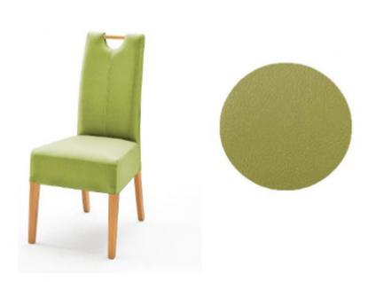 MCA Direkt Stuhl Elida grün Lederlook 2er Set Polsterstuhl für Wohnzimmer und Esszimmer Ausführung 4 Fuß Massivholzgestell und Griff wählbar