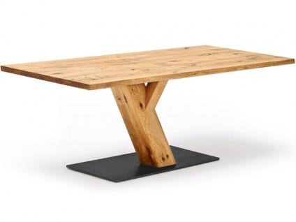 Wimmer Zweigl Säulenesstisch Z30 Tischplatte und Schrägsäule aus Massivholz geölt Bodenplatte aus Stahl Tischplattenausführung Größe Kantenprofiltyp Bodenplatte und Risse/Äste wählbar Tisch für Ihre Küche oder Ihr Esszimmer