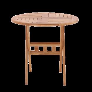Möbilia Gartentisch klappbar ca. 80 cm runder Tisch aus Teakholz Gartenmöbel aus Massivholz