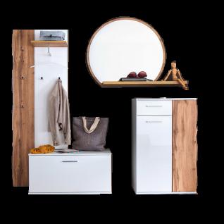 MCA furniture Granada 5-teilige Garderoben-Kombi GRX1FK03 Front Weiß hochglanz Acryl Lack, Korpus weiß matt fur Ihre Diele