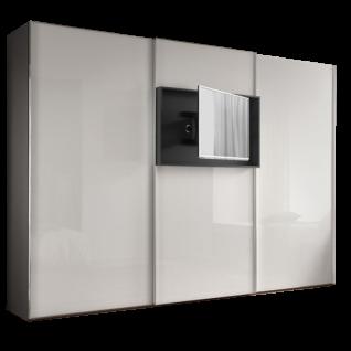 Staud Möbel Media Flat Schwebetürenschrank mit TV-Rahmen Korpus in Dekor Front in Glas Größe und Farbe wählbar