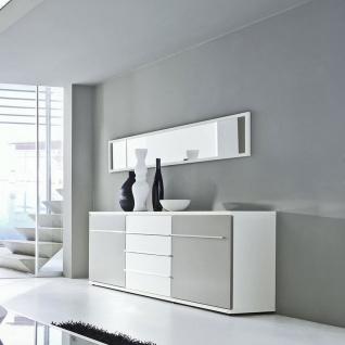 Loddenkemper Kito Sideboard 7432 in Lack Weiß und Lack Soft Grau mit zwei Türen und drei Schubkästen Kommode für Ihr Wohnzimmer oder Esszimmer - Vorschau 2