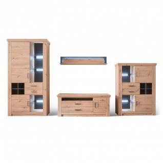 MCA furniture Wohnwand 2 Meran Art.Nr. MER1QW02 Front Balkeneiche tiefzieh Korpus Balkeneiche Melamin Absetzung anthrazit Beleuchtung optional