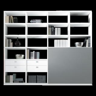 Loddenkemper Kito Regalkombination in Lack Weiß und Lack Soft Grau mit offenen Fächern Schubkästen und Schiebetür für Ihr Wohnzimmer oder Büro