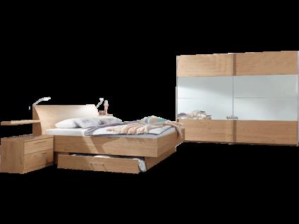 Disselkamp CD Studioline Schlafzimmer- Set bestehend aus Bett mit Nachtschränke- Paar Liegefläche wählbar Wandsteckboards LED - Flexleuchtenpaar Schwebetürenschrank Korpus und Front in Wildeiche optional mit Schrankbeleuchtung