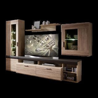 Wohn-Concept Slate Plus Wohnwand 40 97 HH 82 moderne fünfteilige Wohnkombination mit Vitrine Lowboard TV-Aufsatz Hängevitrine und Wandboard Wohnlösung in San Remo hell Nachbildung und Anthrazit Touchwood Nachbildung inkl. LED-Beleuchtung