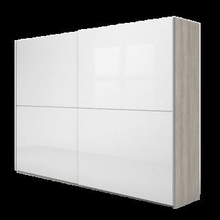 Nolte Möbel Concept Me 310 Schwebetürenschrank waagerechte Türsprosse Ausführung 2 Front Nussbaum-Nachbildung Ristretto Spiegel oder Glasauflage