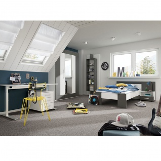 Röhr-Bush cadre Jugendzimmer 6-teilig bestehend aus Liegenbett mit einer Liegefläche von ca. 100 x 200 cm inkl. Bettkonsole Kopfteilpaneel Kleiderschrank 3-türig Schreibtisch sowie Paneelregal - Vorschau 1