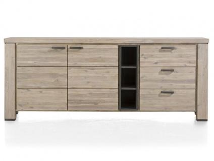 Habufa Coiba Sideboard mit 2 Türen 3 Schubladen und 3 Nischen in Akazie tibet grey und Akzent in MDF anthrazit für Ihr Wohnzimmer oder Esszimmer