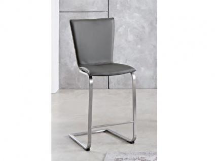 Niehoff Barstuhl TS01 Tresenschwinger mit Sitzhöhe ca. 65 cm für Esszimmer Küche oder Partyraum Schwingstuhl Bezug in Kunstleder Gestell Flachstahl Edelstahl gebürstet