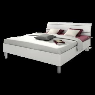 Nolte Möbel Sonyo Bett 2 mit gerundetem Bettrahmen und Holz-Rückenlehne 2 in Polarweiß Rundfüßen und Rückenlehnen-Einrahmung in alu-matt Liegefläche