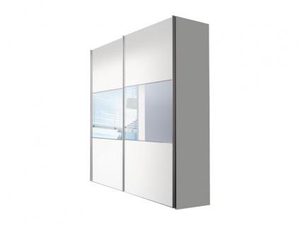 Nolte Express Möbel Bianco Schwebetürenschrank Korpus und Front in Weiß mit Teilspiegel waagerecht und Dekor Breite wählbar