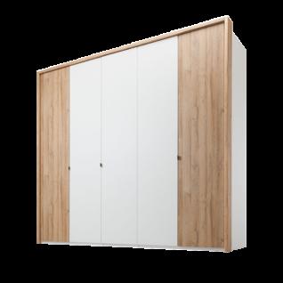 Nolte Möbel Cepina 5-türiger Drehtürenschrank Korpus und Mitteltüren in Polarweiß Außentüren in Planked Oak optional mit Dämpfungsbeschlägen und Passepartout